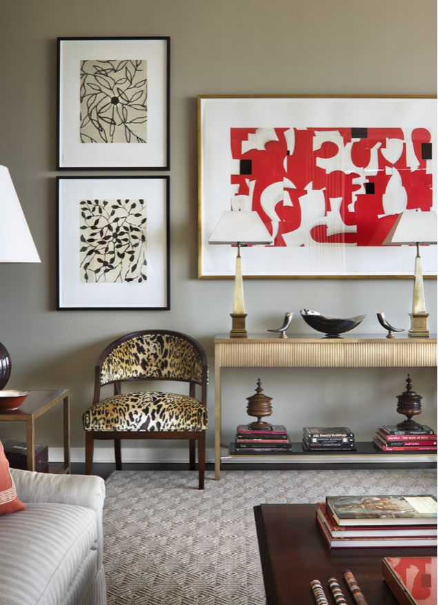 living room decorating ideas red and black%0A Animal print chair  red and black  console table  art