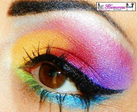 Rainbow eye makeup.