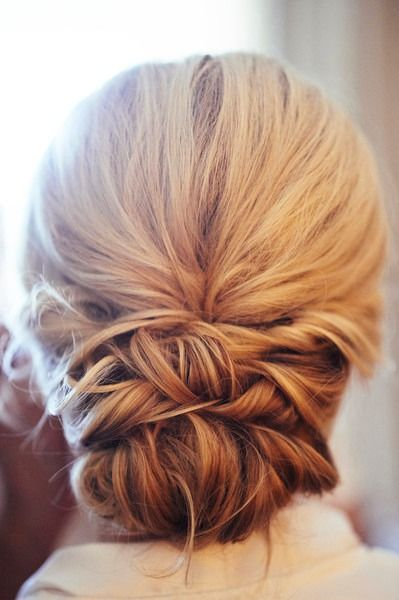 Updo hairstyle for wedding - low, elegant updo for bride {Captive Art Photography}