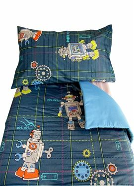 Cool robot design cot/toddler bed duvet and pillow case set. Complimentary blue underside to duvet and pillow case. For only R350