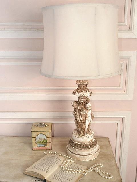 Stunning Ornate Cream Table Lamp with Romanesque Cherubs