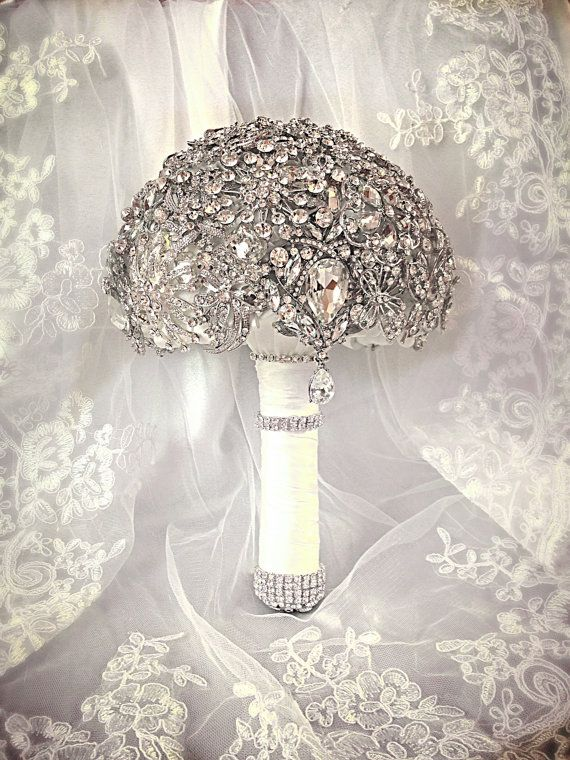 Wedding Brooch Bouquet. Deposit on Crystal Bling Brooch Bouquet. Diamond Jeweled Bridal Broach Bouquet