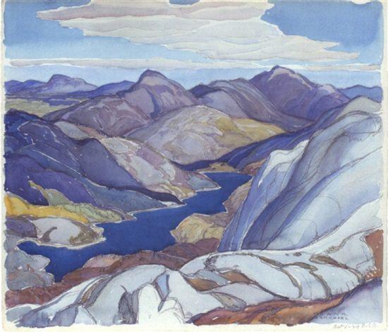 """Cranberry Lake,"" Franklin Carmichael, 1929, watercolor, 10.5 x 13"", private collection."