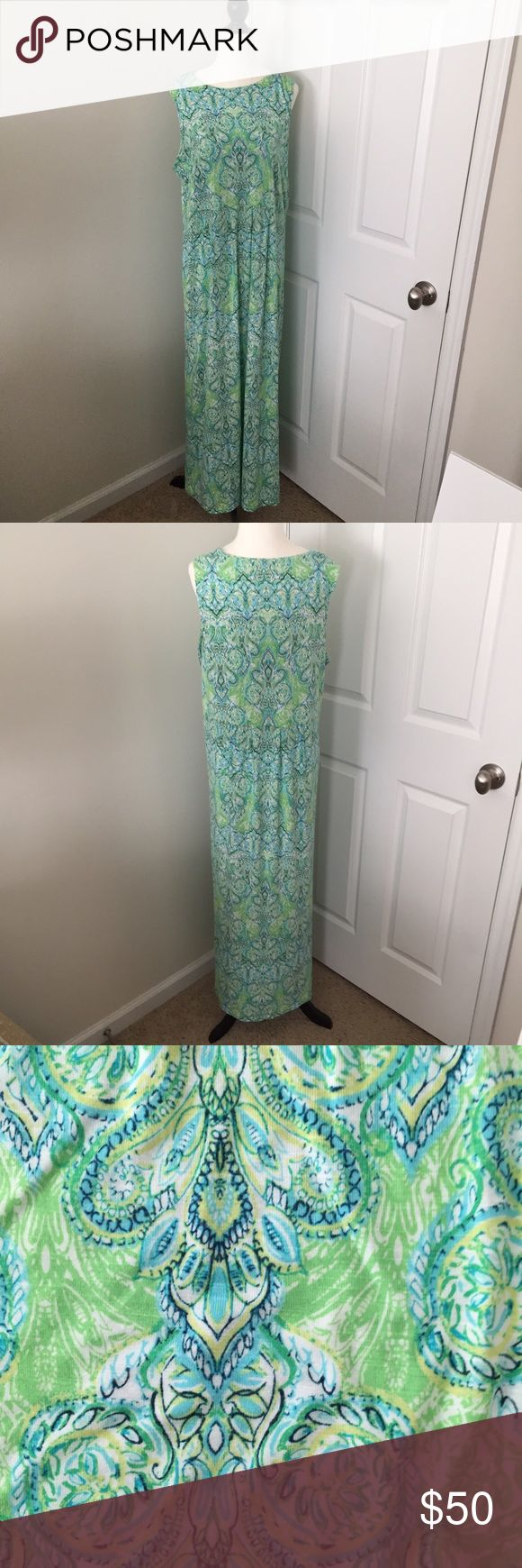"""Lovely J. Jill Turquoise Maxi - Large J. Jill Paisley Maxi Dress - Large Tall  White, black, turquoise and lime paisley   95% rayon/5% spandex knit  Size Large Tall  Measurements (inches) Shoulder: 13"""" Bust:  20"""" laying flat  Length:  51"""" J. Jill Dresses Maxi"""