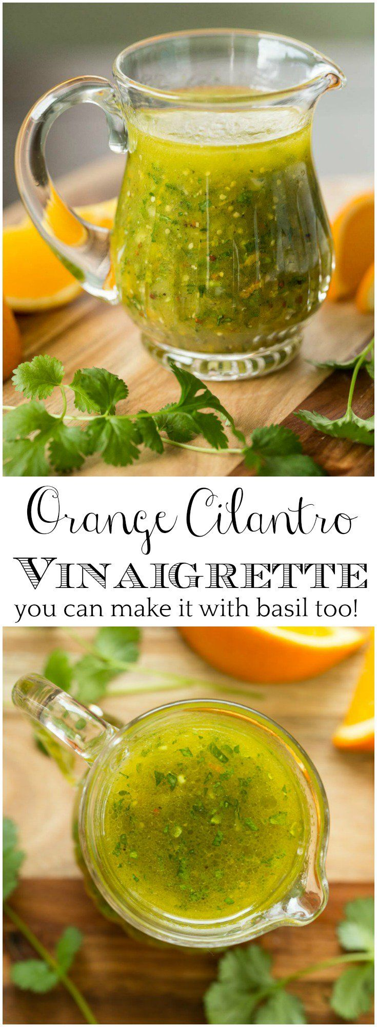 This easy Orange Cilantro Vinaigrette is bursting with fresh flavor will add lots of pizazz to your winter salads. via @cafesucrefarine