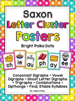 This file contains 50 colorful full-page posters, one for each of each of the consonant digraphs, vowel digraphs, ghost letter digraphs, trigraphs, combinations, diphthongs, and final, stable syllables that the Saxon Phonics program teaches in first grade.