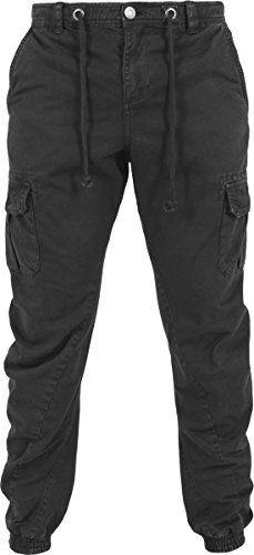Urban Classics Herren Hose - Cargo Jogging Pants, lange Cargohose eng für Männer und Jungen, Schwarz (Black 7), Gr. S -