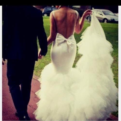 Wedding mermaid dress with bow