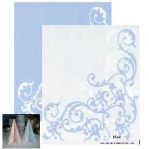 POMP blue/white  - luxusné svadobné servítky z netkanej textílie, ornament, modrá, biela rozmer 40x40