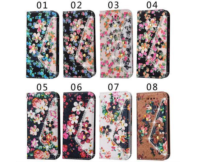 Iphone7/7 Plusデコケース 横開き 彼女プレゼント アイフォン7/7 プラスカバー 財布機能付きスタンド 花付き 花柄