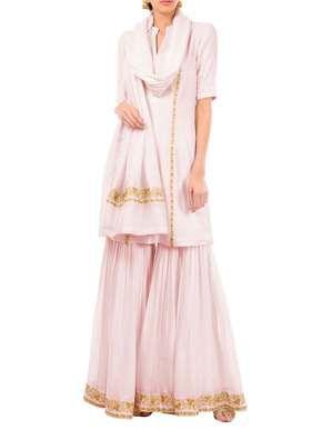 Nude Pink Cotton Gharara Suit | Talking Threads | BYELORA.COM