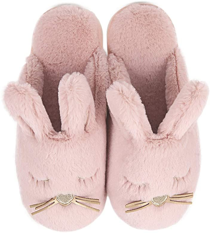 Amazon Com Fuzzy Bunny House Slippers For Women Fluffy Animal House Shoes For Bedroom Red Slippers Animal Slippers Kids Unicorn Slippers Cute Slippers