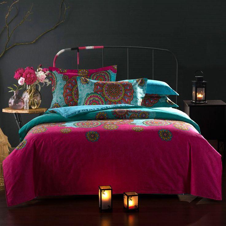 Floral impressão estilo étnico algodão conjunto de cama queen size roupa de cama consolador / edredon / colcha cobertura lençol fronha 4 pc jogos de cama em Roupas de cama de Casa & jardim no AliExpress.com   Alibaba Group