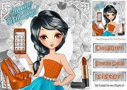 Trendy girl loves fashion with orange mobile phone  8x8 on Craftsuprint - View Now!