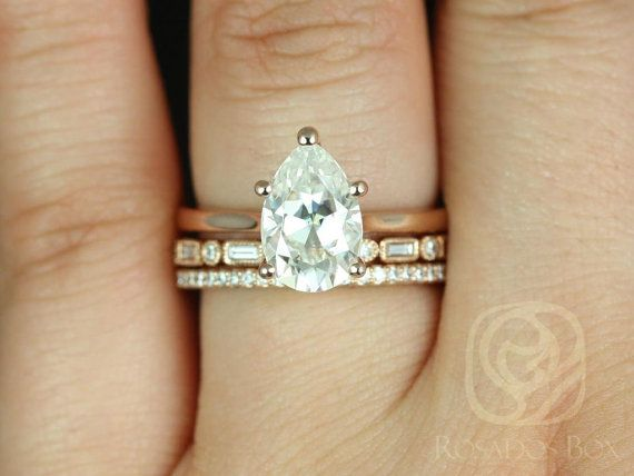 Skinny Jane 10x7mm, Ivanna, & Pernella 14kt Rose Gold Pear FB Moissanite Tulip Cathedral Solitaire TRIO Wedding Set(Other options available)