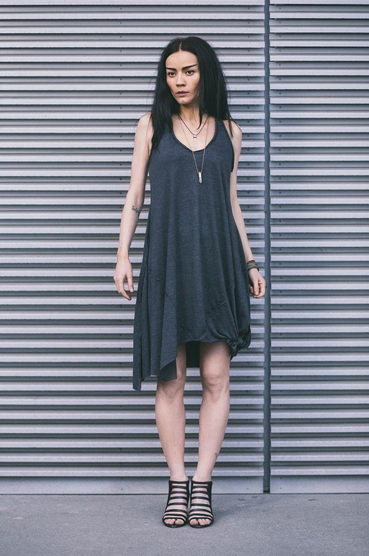 CUB lookbook spring/summer 2014 #polishfashion #fashion #cub #cub_wear #summer #cotton #natural #wild #grey #graphite #black #girl #concrete #industrial #look #city #dress #free #warior #wolf #tunic