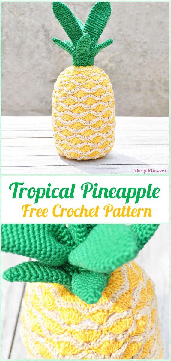 Crochet Tropical Pineapple Free Pattern - Crochet Amigurumi Fruits Free Patterns