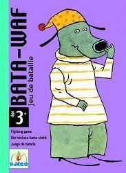 """Bata-Waf : jeu de bataille. Les cartes représentent des chiens de différentes tailles, allant de 1 à 6. Lorsque les joueurs découvrent deux chiens de la même taille, il faut dire """"bata waf"""" et recouvrir ! Le joueur qui s'est débarrassé de toutes ses cartes a gagné."""