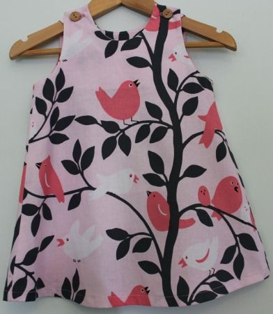 Pink girl's dress, sizes 6m-5y, Red Dot Stitches