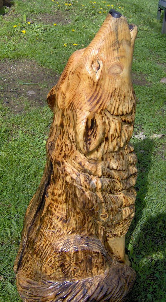 Best wooden wolf carvings images on pinterest carved