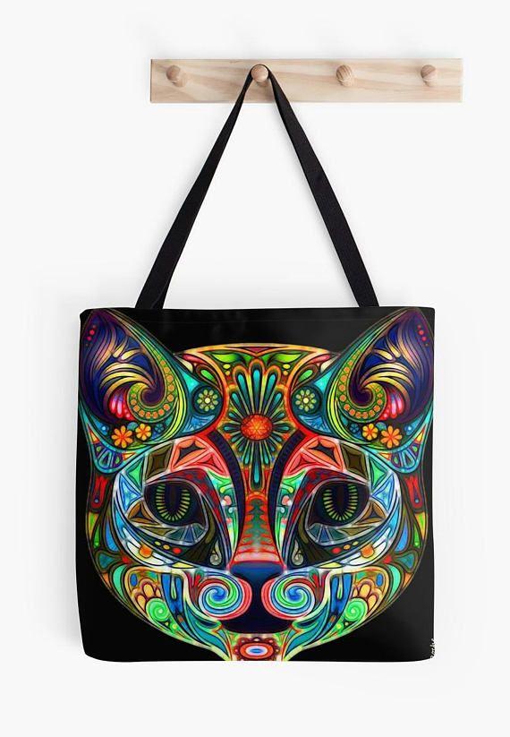 Tote bage Fun rainbow CAT Tote bag/ yoga bag beach bag/