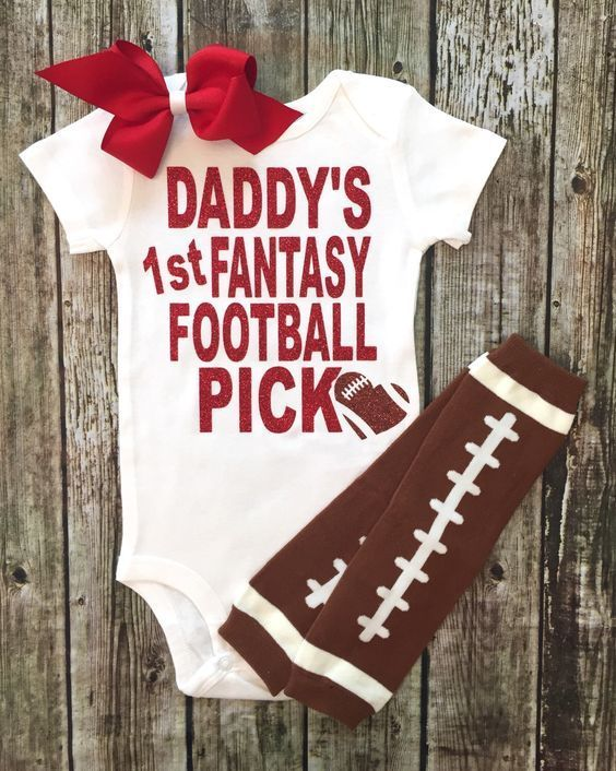 Daddy's Fantasy Football Pick Onesie Baby Girl Football Onesie - BellaPiccoli