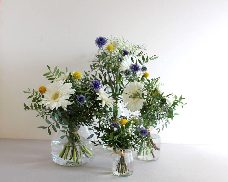 Décoration florale, fleuriste mariage, gerberas, chardon et craspedias
