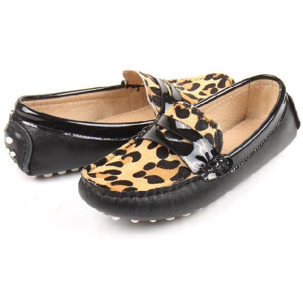 Women Moccasins Leopard-Black Casual-Soft-Slip shoe