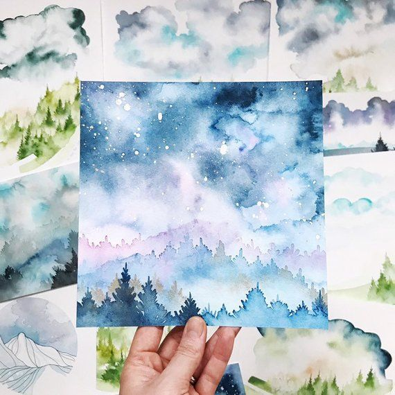 Original Watercolor Painting Landscape Of Fairy Tale 20 X 20