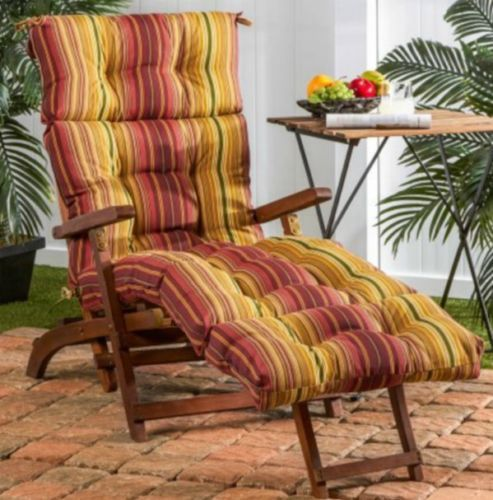 Chaise Lounge Cushion Red Yellow Overstuffed Outdoor Striped