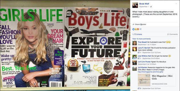 ティーン向けの雑誌、男女でこんなに違うの? 少女向けは「可愛くなろう」なのに...|Katherine Young   少女向けの雑誌「ガールズ・ライフ」の表紙にはこう書かれている。「可愛く目覚めよう」。少年向けの雑誌「ボーイズ・ライフ」に書かれているのは「将来の可能性を考えよう」だ。