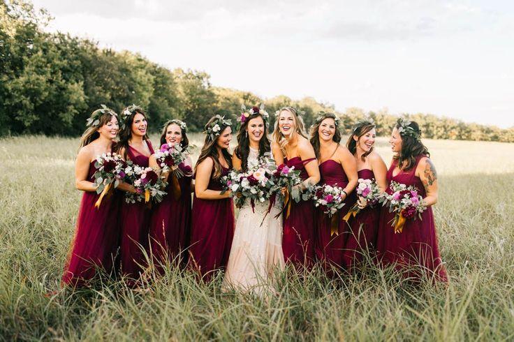 Burgundy bridesmaids dresses | Image by Sarah Libby Photography