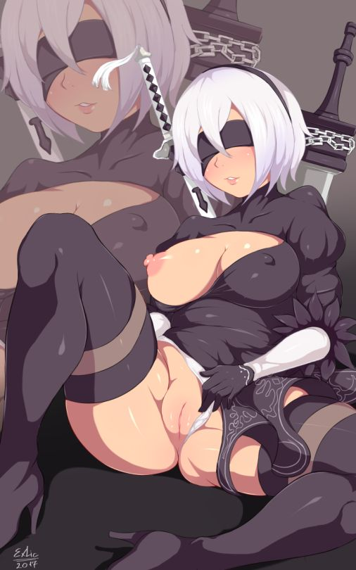 1girl android areolae artist_name black_legwear blindfold breasts breasts_outside erect_nipples exlic female gloves long_sleeves nier nier_(series) nier_automata nipples panties panties_aside panty_pull parted_lips puffy_sleeves purple_dress pussy short_hair silver_hair solo square_enix sword thighhighs uncensored upskirt weapon white_gloves yorha_no.2_type_b yorha_unit_no._2_type_b