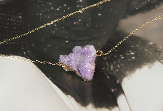 Fijne 14k gold filled Druzy Kwarts ketting / door ProudandPretty