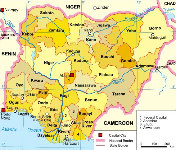 map of Nigeria exhibiting its 36 states and the federal capital territory.