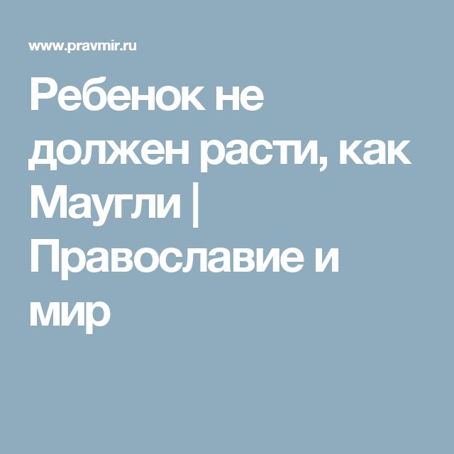 Ребенок не должен расти, как Маугли   Православие и мир