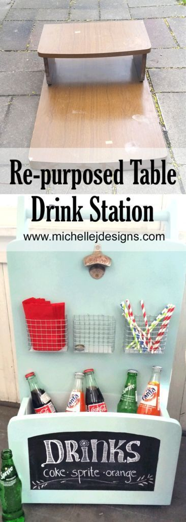 DIY an outdoor drink station for your home using an old thrift store table.   http://michellejdesigns.com/how-to-make-a-drink-station-when-you-have-nothing-but-lemons/
