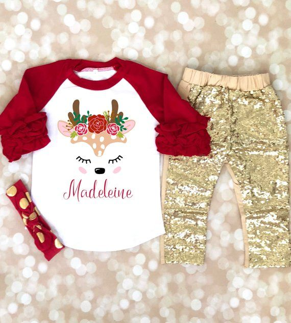 Christmas Unicorn Baby Girl Cute Holiday Outfit Baby Bodysuit Gift Idea
