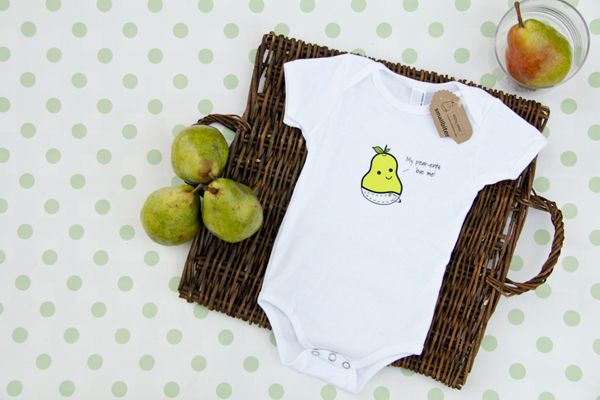 This is the Baby Pear Onesie from our new Small Bites line.  Read about our story! http://chefjulieyoon.com/2012/01/introducing-small-bites-our-new-baby/
