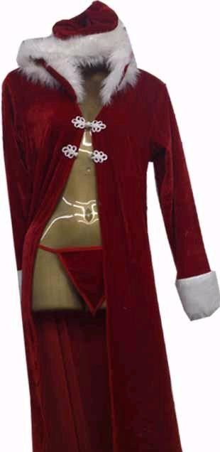 Fancy dress mrs claus costume santa open long gown