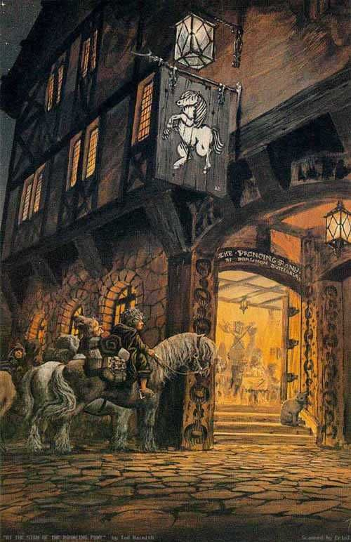 The Sign At the Prancing Pony by Ted Nasmith ~ LOTR
