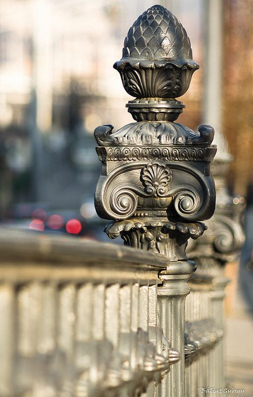 Details of Budapest (Don't actually see many real artichokes these days, but the iron ones are always in bloom!) Pest embankment railing ornament - Budapest, Hungary