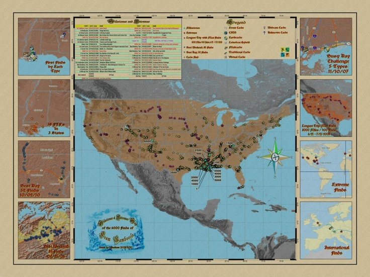 Geocaching map of your milestones and extremes