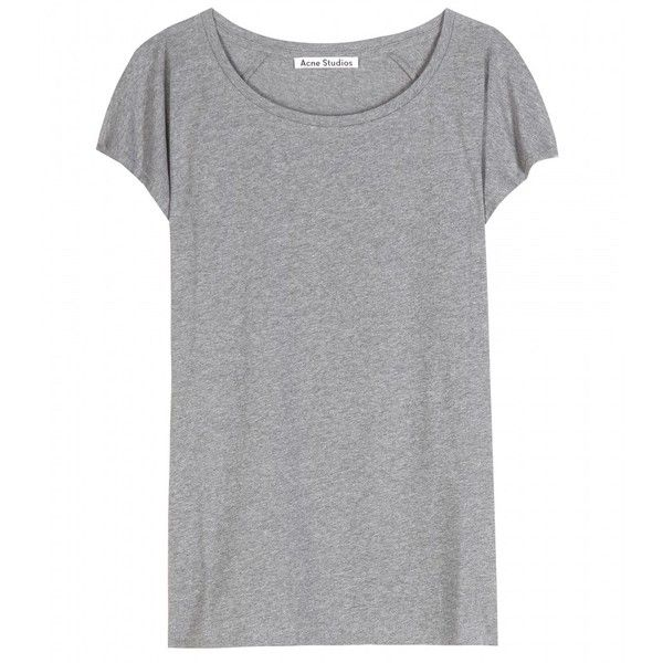 Acne Studios Narda Cotton T-Shirt found on Polyvore featuring tops, t-shirts, shirts, tees, grey, shirts & tops, grey t shirt, cotton t shirt, grey shirt and gray tee