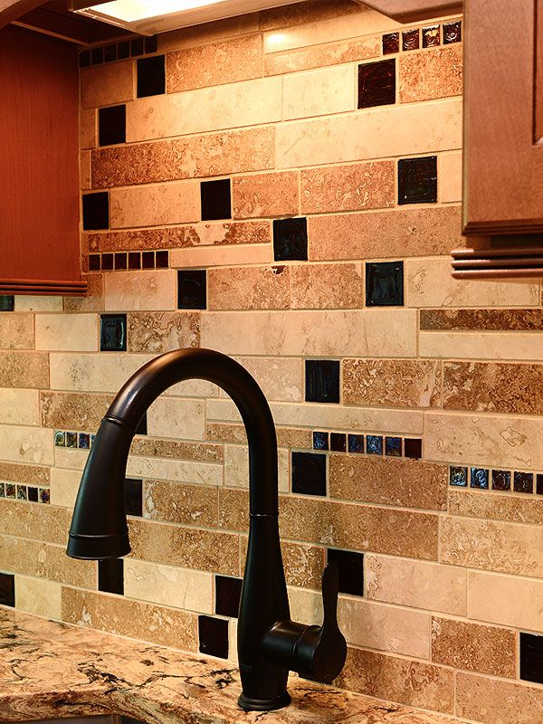 Unique Multi Color Travertine Mixed Kitchen Backsplash Tile From Backsplash