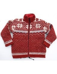 Norweger Wolljacke - rot / Wolljacken