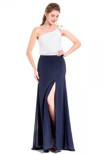21507a9c90f2 Robe de soirée chic asymétrique bicolore blanc cassé   bleu nuit en ...