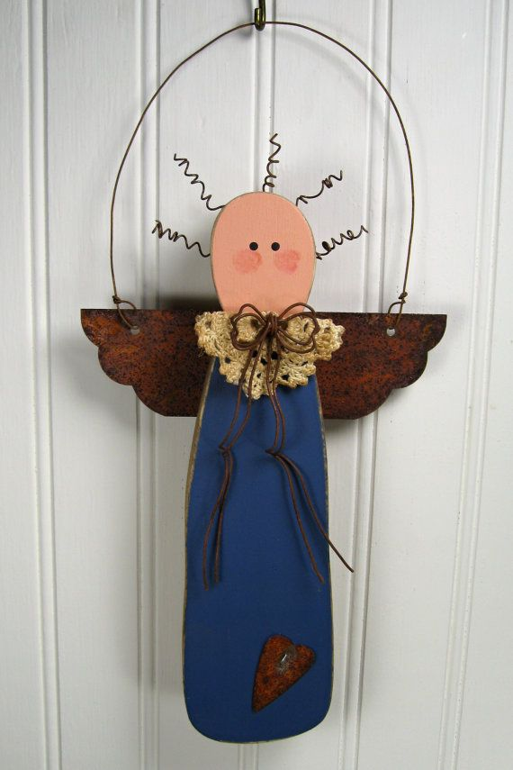 Primitive Wooden Christmas Angel with Rusty Tin by TheCountryTouch