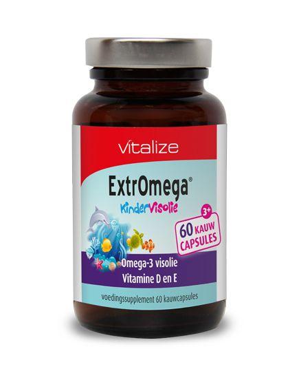 Vitalize ExtrOmega Kindervisolie 60 capsules  ExtrOmega Kindervisolie Inhoud: 60 capsules Gebruik: 2 capsules per dag Vitalize ExtrOmega Kindervisolie is een pure natuurlijke koudwater visolie met een hoge dosering omega-3 vetzuren. Gecombineerd met vitamine D en E. Dankzij de kauwcapsule met fruitige bubbelgumsmaak zal uw kind moeiteloos aanvullende gezonde omega-3 vetzuren binnen krijgen. DHA is een belangrijke bouwsteen voor de hersenen en draagt bij tot de instandhouding van een normaal…
