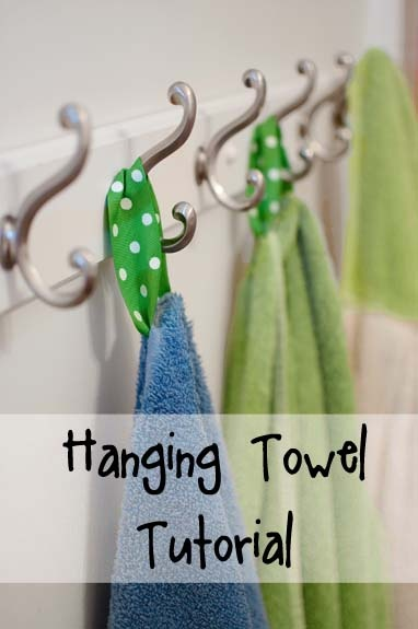 Hanging Towel Tutorial - No more pile of towels underneath the hooks!
